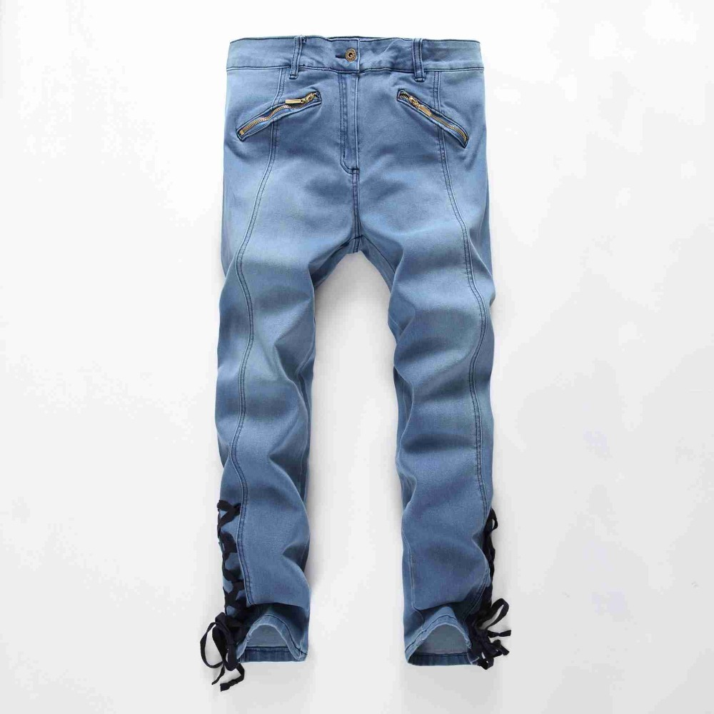 #1943 2016 Ankle-length high waist jeans Skinny denim jeans womens Distressed jeans feminino Elastic jeans for women