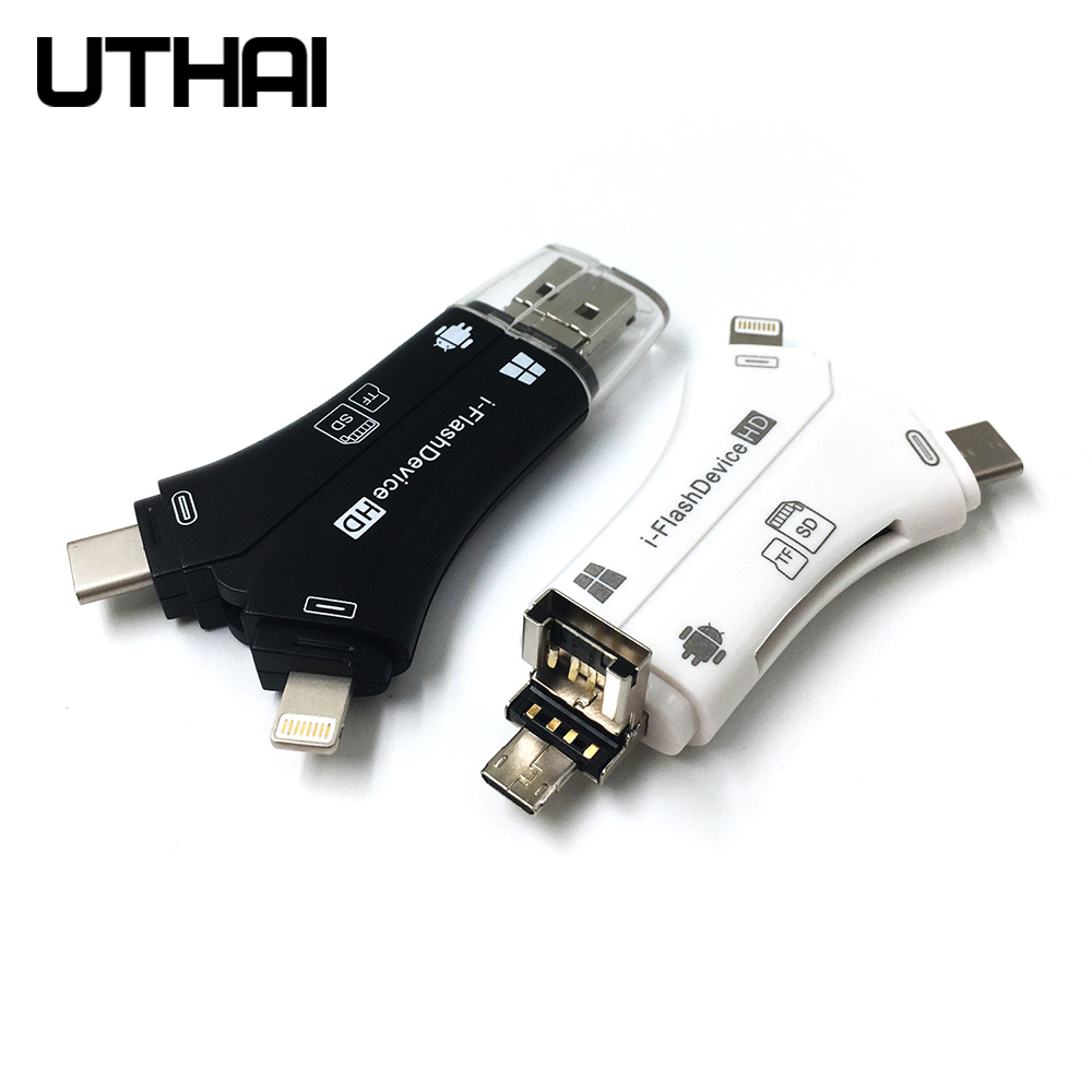 Uthai relâmpago leitor de cartão sd tf usb c para micro usb multi leitores de cartão 4in1 tipo-c flash drive para iphone 7 8 11 x xr max mi