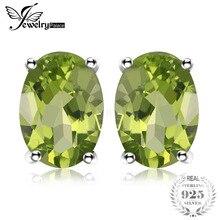 4fd5605345cc Joyería ovalada de palacio ovalada 925 CT peridoto verde Natural Stud  pendientes genuino plata de ley