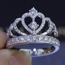Hecho a mano anillo de la Corona 100% SOILD 925 aaaaa ZIRCON engagement wedding band Anillos para mujeres aniversario joyería