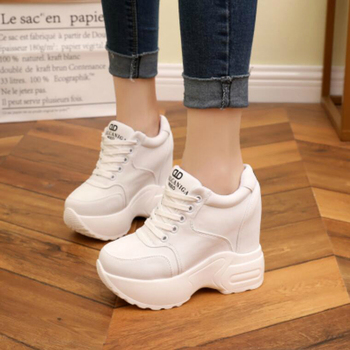 Women Sneakers Mesh Casual Platform Trainers White Shoes 10CM Heels Autumn Wedges Breathable Woman Height Increasing Shoes  5