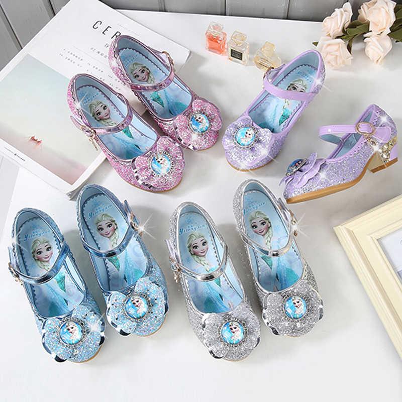 57360c76 ... 2019 niños zapatos de cuero de tacón alto niñas Elesa zapatos  antideslizante brillante sofia princesa zapato ...