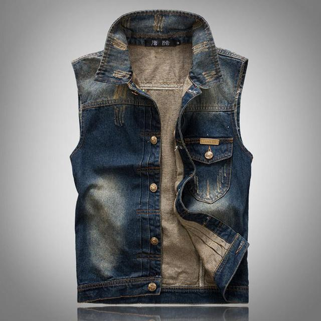 Brand New Mens Casual Vests Sleeveless Jean Jacket Vintage Men Blue Hip Hop Denim Vest Latest Designs For Men Waistcoat Clothing