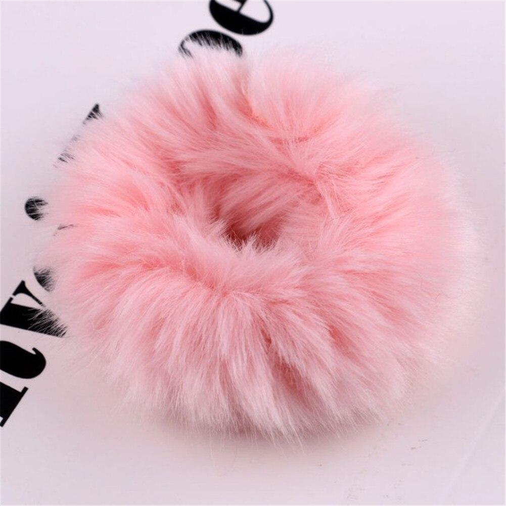 1 мягкий пушистый искусственный мех, пушистый благородный, новинка, шикарные резинки для волос, эластичное кольцо для волос, аксессуары, эластичные розовые резинки для волос - Цвет: 10