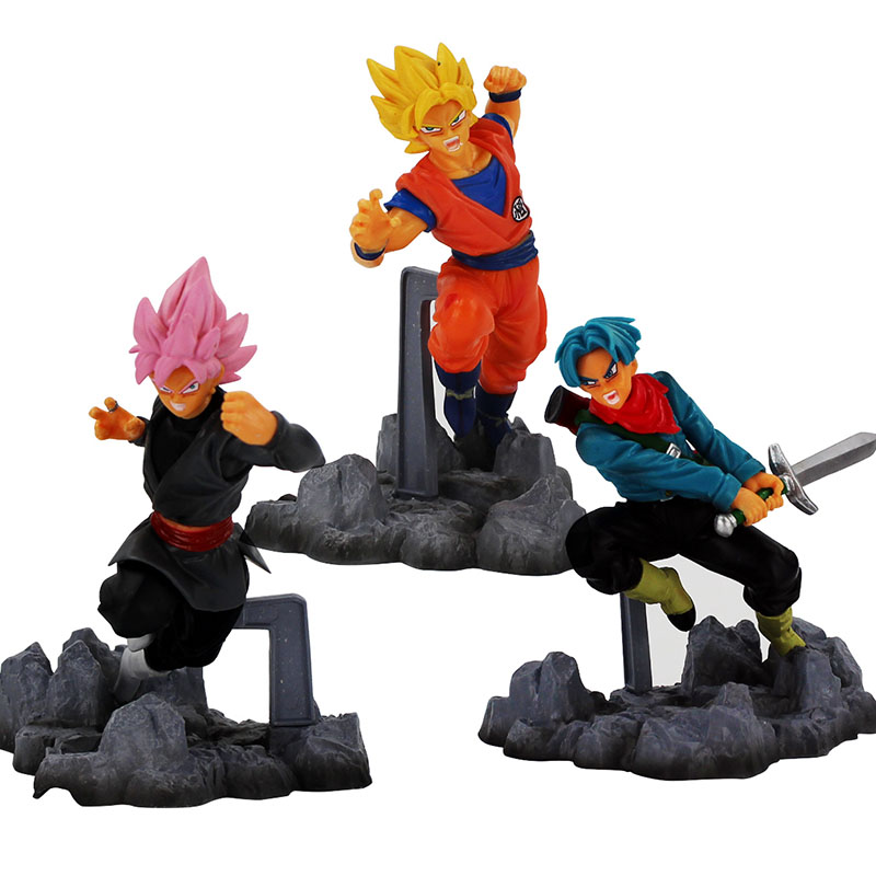 3styles Dragon Ball Super X Soul Son GoKu Trunks Black Goku PVC Action Figure Fighting style Dragonball Collectible Model Toy dragon ball z super big size super son goku pvc action figure collectible model toy 28cm kt3936