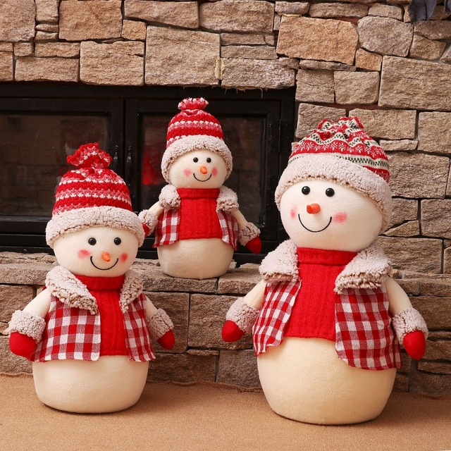 plaid clothes lovely foam kids toy santa claus family christmas gifts decorations christmas snowman family decoration