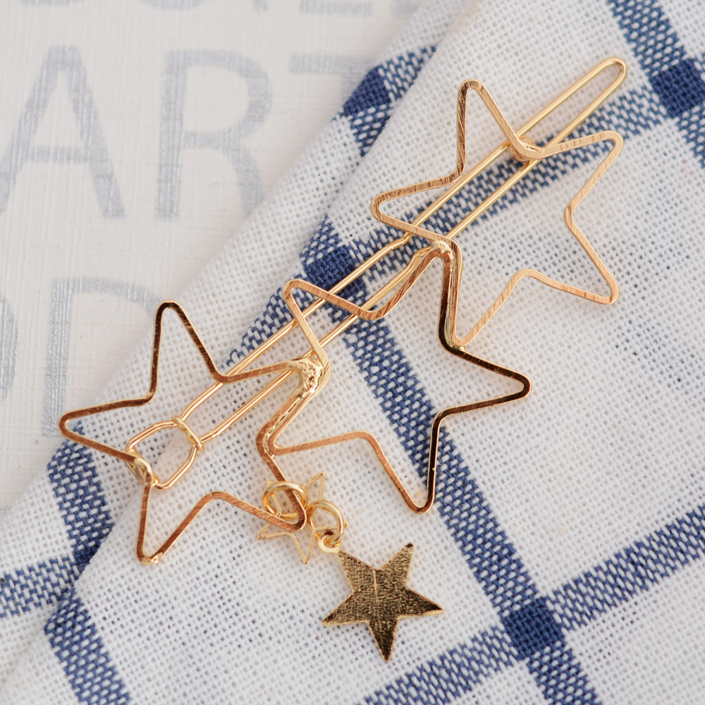 Woman Hair Accessories Five-pointed Star Hair Clip Pin Metal Copper  Hairgrip Barrette Girls Holder Hair Clip #4