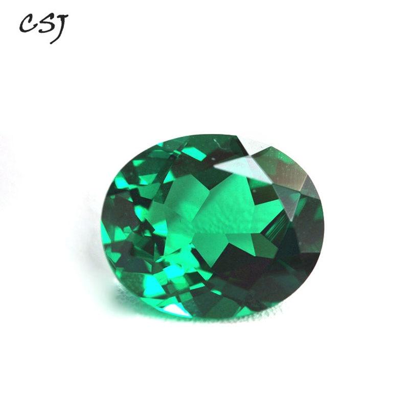 CSJ Created Emerald Loose Gemstone Oval Cut Nano Emerald For Silver Mounting Rings Diy Jewelry Fine Cutting