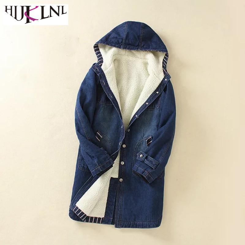 HIJKLNL jaqueta feminina Women Lambswool Denim Jeans Jacket 2017 Thicked Winter Female Hooded Long Parkas Mujer Padded NA231
