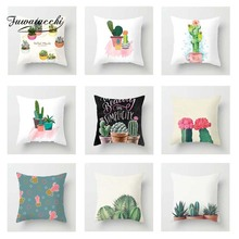 Fuwatacchi Cactus Plant Series Cushion Cover and Flower  Printed Pillow For Home Chair Sofa Decorative Pillowcases