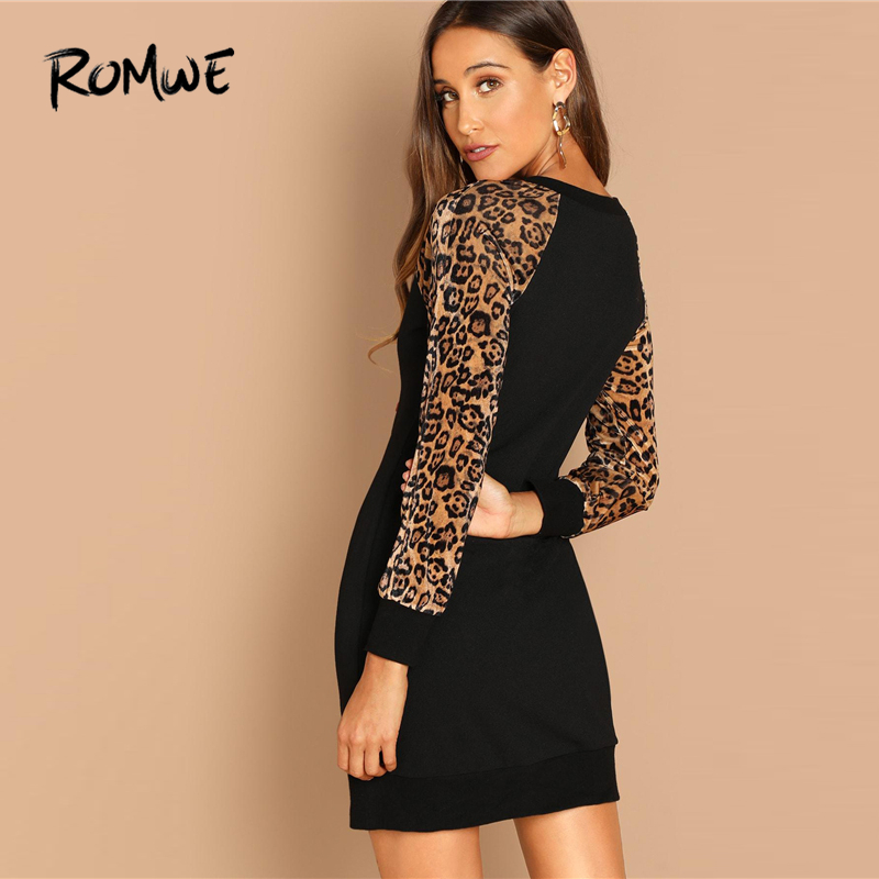 301dd07ced9071 ROMWE Black Leopard Raglan Sleeve Sequin Dress Women Autumn Long Sleeve  Casual Clothing Fashion Straight Shift Short Dress-in Dresses from Women s  Clothing ...