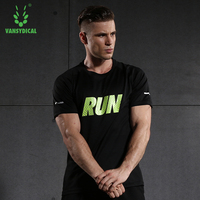 VANSYDICAL Men Shirt Running Sports Sportswear Fitness Exercise Gym Shirt Short Sleeve Tops Clothes Jerseys Breathable