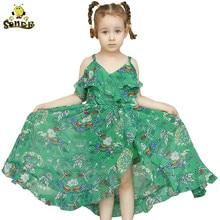 цена на Girls summer dress Floral Print chiffon dress dresses summer off shoulder Princess children long dress kids 3 10 13 year olds