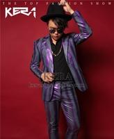 S-5XL 2017 New Men clothing fashion slim DJ blazer Purple stripe suit formal dres plus size male singer costumes Nightclub