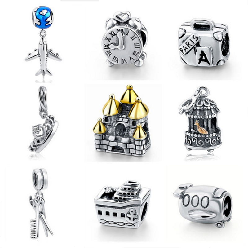 New Authentic 925 Sterling Silver Charm Beads Plane Clock Crown House Birdcage Beads Fit Pandora Bracelet charm DIY Jewelry Gift
