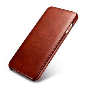 Image 1 - Icarer couro genuíno de luxo casos originais do telefone móvel para apple iphone 7 8/plus borda completa fechado proteção da aleta caso capa