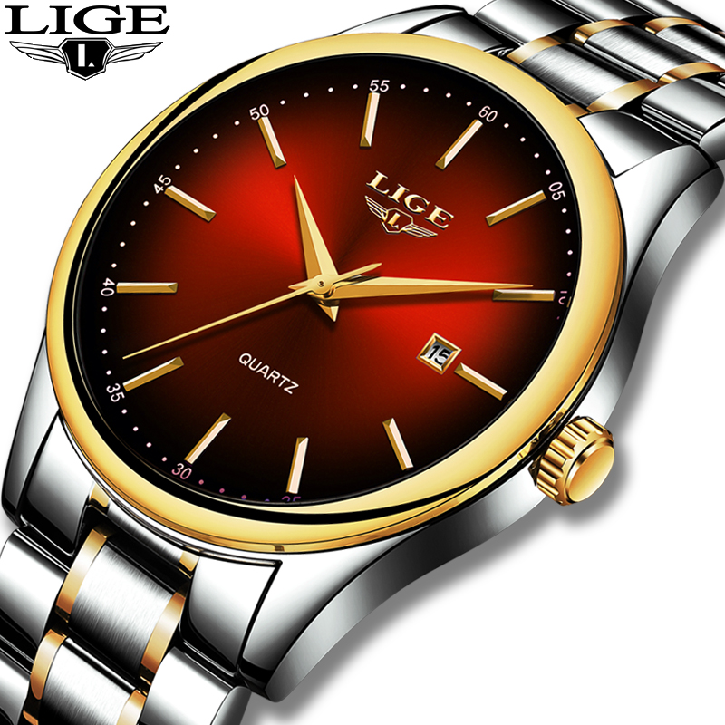 2019 LIGE Simple Fashion Red Wristwatch Mens Watches Top Brand Luxury Waterproof Quartz Watch For Men Sport Clock Montre Homme
