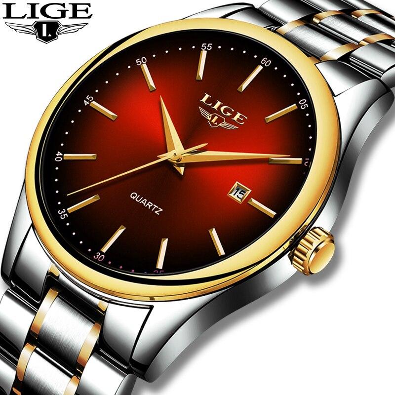 2019 LIGE Simple mode rouge Montre-bracelet hommes montres Top marque de luxe étanche Montre à Quartz pour hommes Sport horloge Montre Homme