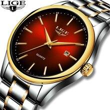 2019 ליגע פשוט אופנה אדום שעוני יד Mens שעונים למעלה מותג יוקרה עמיד למים קוורץ שעונים לגברים ספורט שעון Montre Homme