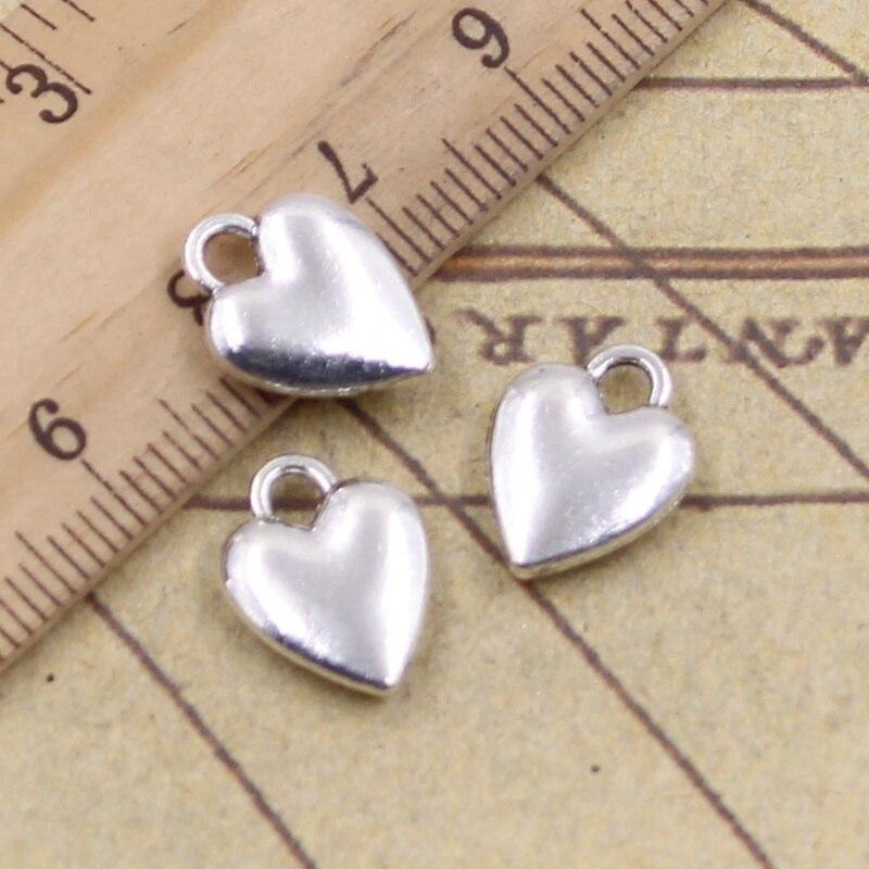 12pcs/lot Charms Heart 14x10mm Antique Silver Color Pendants Making DIY Handmade Tibetan Finding Jewelry For Bracelet