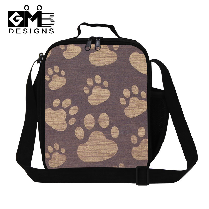 Animal Cat Footprint Thermal Lunch Bags Cat Head Lunchbox Children BlackWhite Picnic Lancheira Termica Dog Lunch Box Students Kids Camping Food Bags