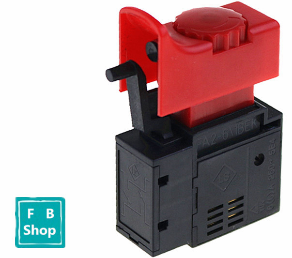 1PCS <font><b>FA2</b></font>-<font><b>6</b></font>/<font><b>1BEK</b></font> 250V 6A 5E4 Red+Black Lock On Power Tool Electric Drill Trigger Switch Electric tool fittings switch image