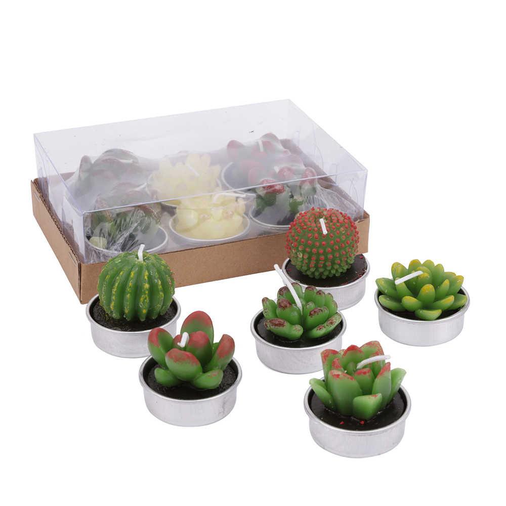 12Pcs/set Cactus Candles Cacti Decorative Green Succulents Candles Tea Light Party Decor