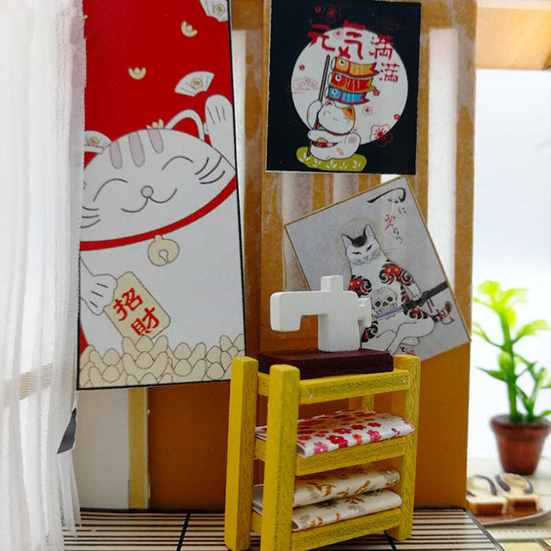 Diy Doll House Wooden Handmade Miniature Dollhouse Assemble Kits Toys  Japanese Style Bedroom Furniture House Toys for Children