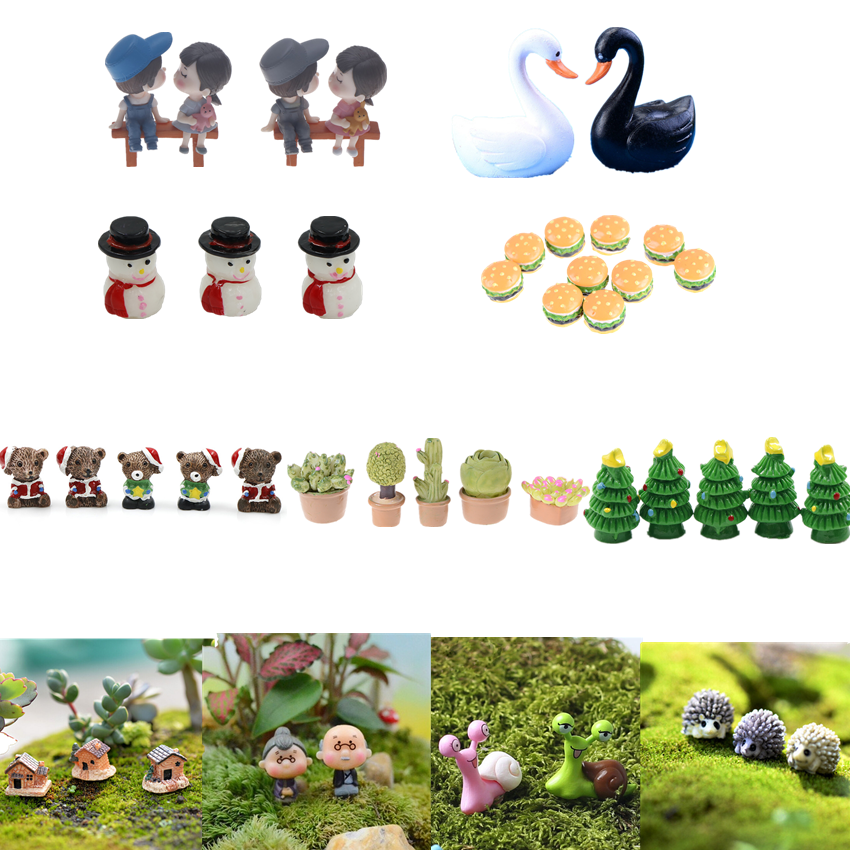 multi-styles cute Mini Stool Couples animals trees Bridge Miniatures Micro Landscape Action Figures fairy garden supplies