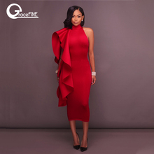 Wholesale Women Sexy Flounce pencil Dresses Elegant Empire Club bodycon Dress festival clothing Red cocktail party dress 2018