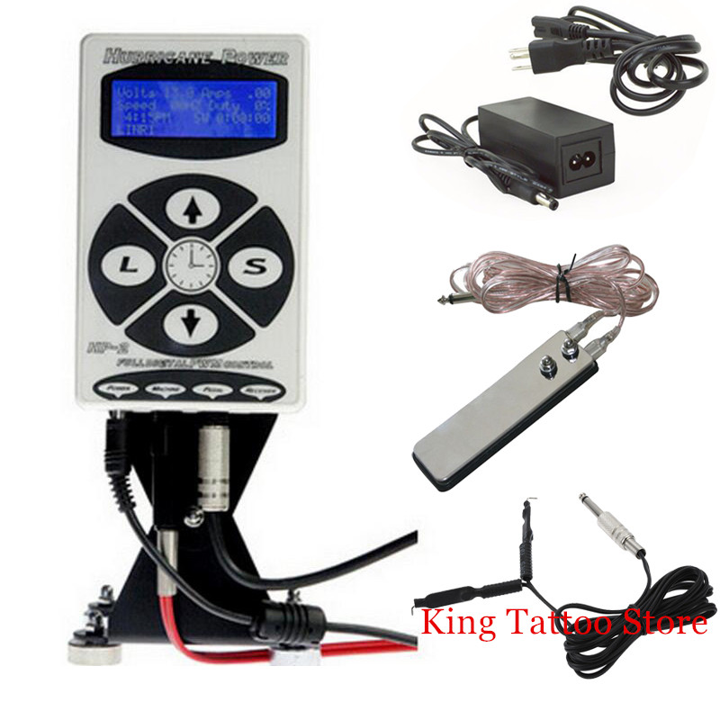 Tattoo Power Supply Kits Set Hurricane HP-2 Dual Digital LCD Tattoo Power Supply with Clip Cord and Foot Pedal top pro digital lcd digital tattoo power supply foot petal clip cord for tattoo machine gun needle ink grip kits tp 133