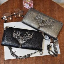 new European and American tide metal deer head wallet female long multi-card student zipper handkerchief coin purse 064