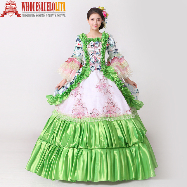 Brand New Green Floral Printed Masquerade Ball Gown Southern Rococo ...