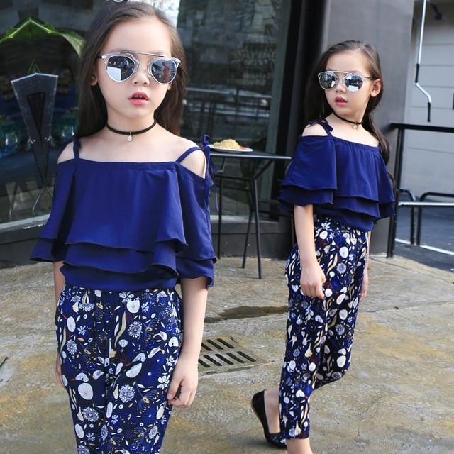 b94a7604ba6 4-14t 2017 Big Girls Shoulderless T-shirt + Floral Pants Suit Children Girl  Fashion Clothes Sets Summer Wear Free Ship