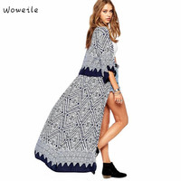 Woweile 4001 Women Boho Printed Chiffon Loose Shawl Kimono Cardigan Tops Cover Up Blouse Free Shipping