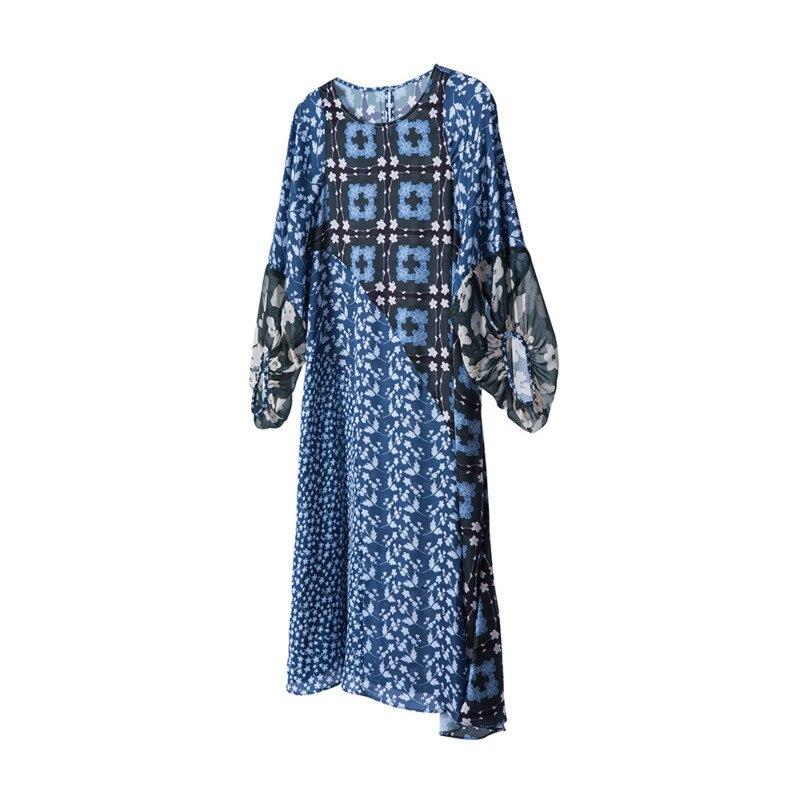 Style Mode Gray Nouveauté O Manches Automne Kb285 2018 Géométrique Deat Lanterne Lady Lâche Robe Décontracté Imprimé Femmes De blue cou BrCxeoWd
