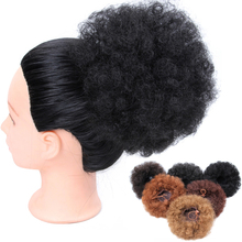 Alileader African Afro Bun Short Kinky Curly Wrap Drawstring Puff Ponytail Extension Synthetic Hair Large Round 1pc