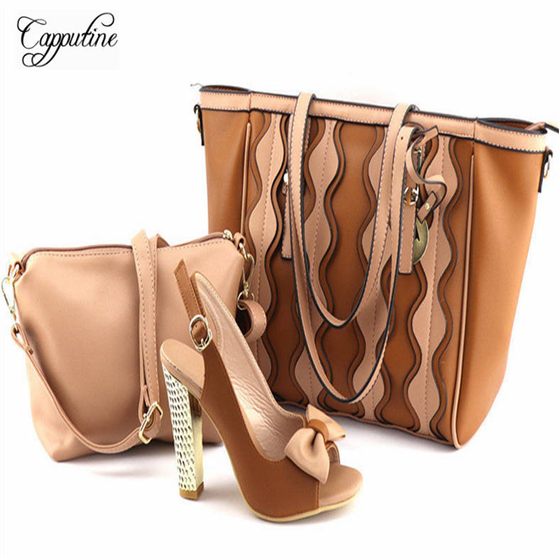 Capputine Nigerian Style Shoes and Bag Set Hot Sale African Woman High Heels Shoes And HandBag Set For Wedding Size 37-43 JY2018 capputine nigerian style woman yellow shoes and bag set for party african rhinestone middle heels shoes and bag set size 37 43