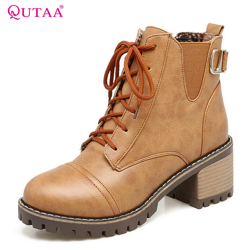 QUTAA 2018 Women Ankle Boots Lace Up Square High Heel Ladies Shoes Westrn Style Pu Leather Fashion Women Boots Size 34-43 цена
