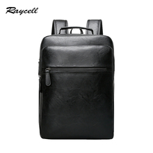 RAYCELL Fashion Brand Preppy Style Leather School Backpack Bag For College Simple Design Men Casual Daypacks Mochila Male New