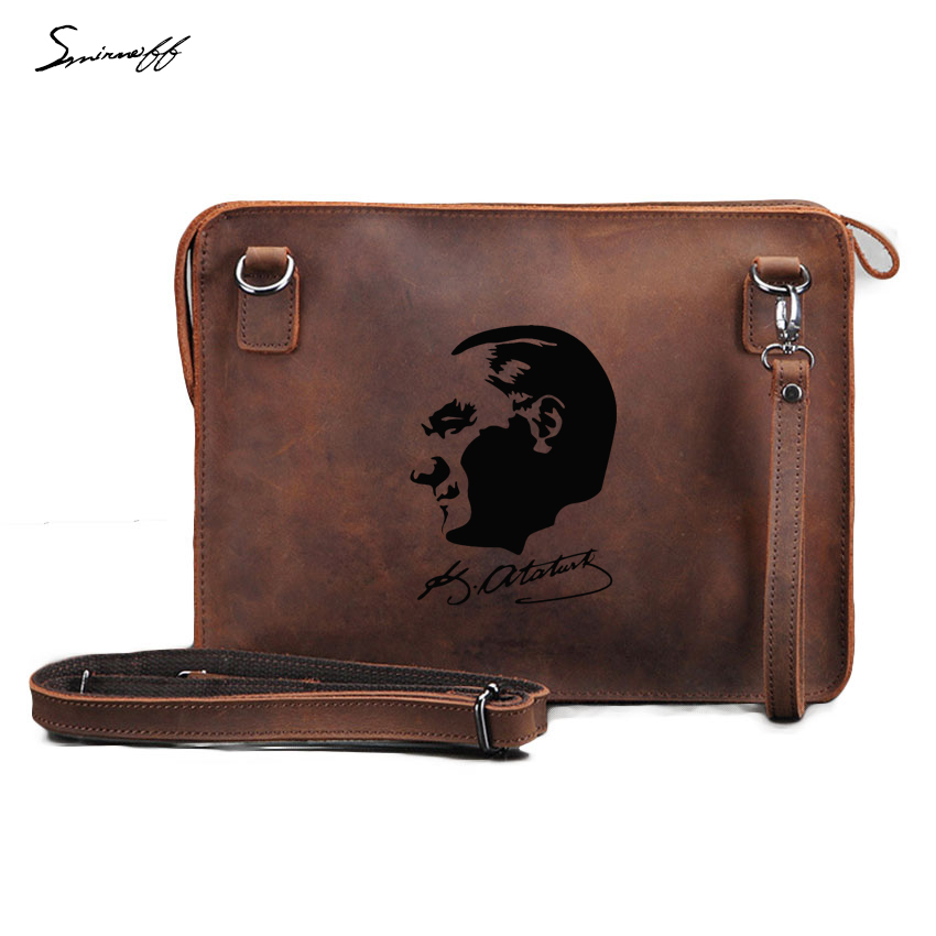 Engraved Turkey Founder Kemal Handbags Genuine Leather Messenger Briefcase Leisure ipad Bags Men Custom Name Handbags