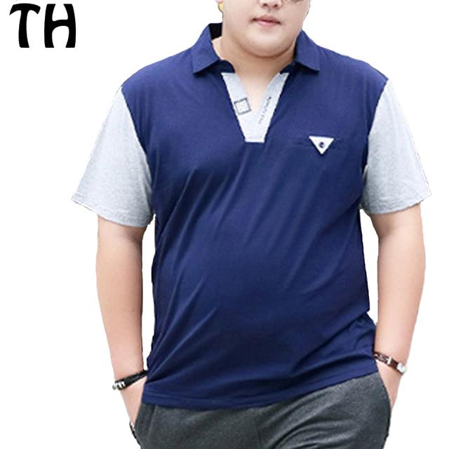 2016 personalizada cómodo remiendo de la manga corta polo camisas de los hombres del verano tops 4xl 5xl 6xl más tamaño polo homme