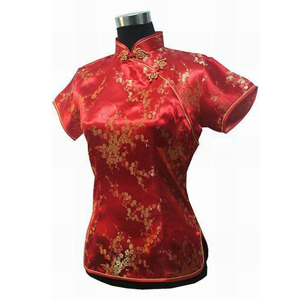 6c07901fc1e937 High Fashion Red Chinese Women's Silk Blouse Floral Shirt Tops Vintage  Style Tang Suit Free Shipping Size S M L XL XXL 715 10-in Blouses & Shirts  from ...
