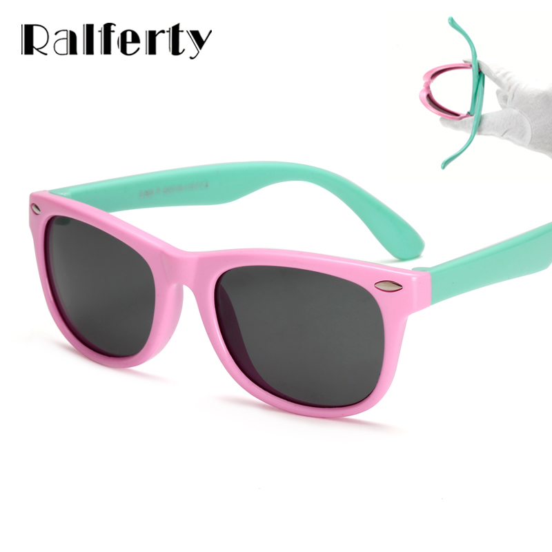 Ralferty TR90 Flexible Kids Sunglasses Polarized Child Baby Safety Coating Sun Glasses UV400 Eyewear Shades Infant oculos de sol 2016 new retro fashion matte frame glasses brand men woemn designer oculos de sol cute round sunglasses n65