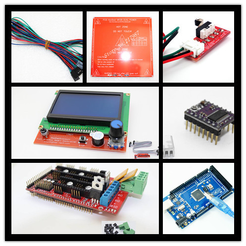 Reprap Ramps 1.4 + Mega 2560 + Heatbed mk2b + 12864 LCD Controller + DRV8825 + Mechanical Endstop+ Cables For 3D Printer endstop mechanical limit switches 3d printer switch for ramps 1 4 free shipping dropshipping