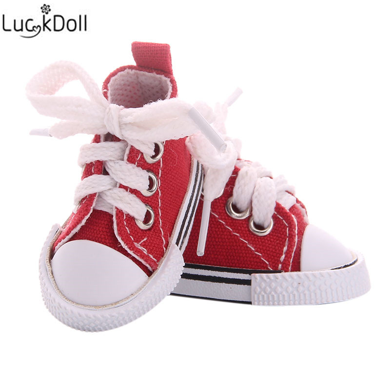 LUCKDOLL 5cm Canvas Shoes Fit 18Inch American 43cm Baby Doll Clothes Accessories,Girls Toys,Generation,Birthday Gift