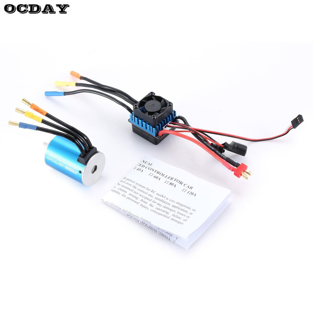 3650 3900KV Sensorless Brushless Motor with 60A Brushless ESC Electric Speed Controller for 1/10 Scale RC Toy Car Parts&Acce Hot dual mode drive brushless motor speed controller esc