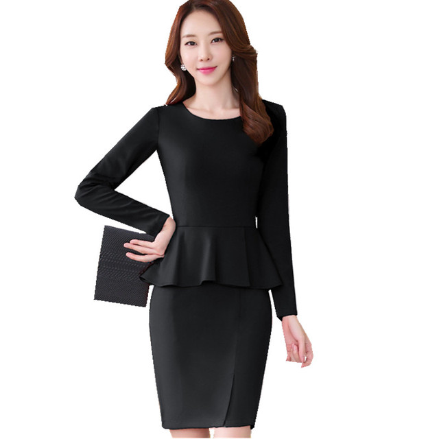 dbbefe26b1a Fmasuth Spring Dress Office Women O Neck Full Sleeve Fake 2 Piece Vestido Ruffle  Formal Wear Pencil Dress for Work SL0917