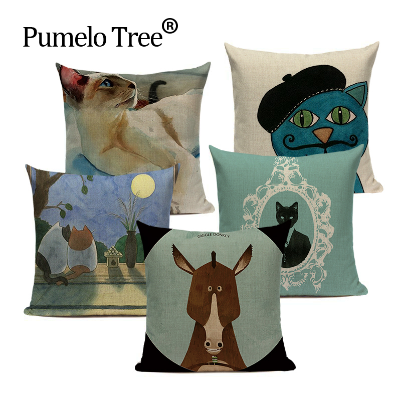 Cushion Cover Bull Donkey Animal Pillow Case Linen Cutton Decorative For  Chair Sofa Home Throw Pillow Cover Textile Customized