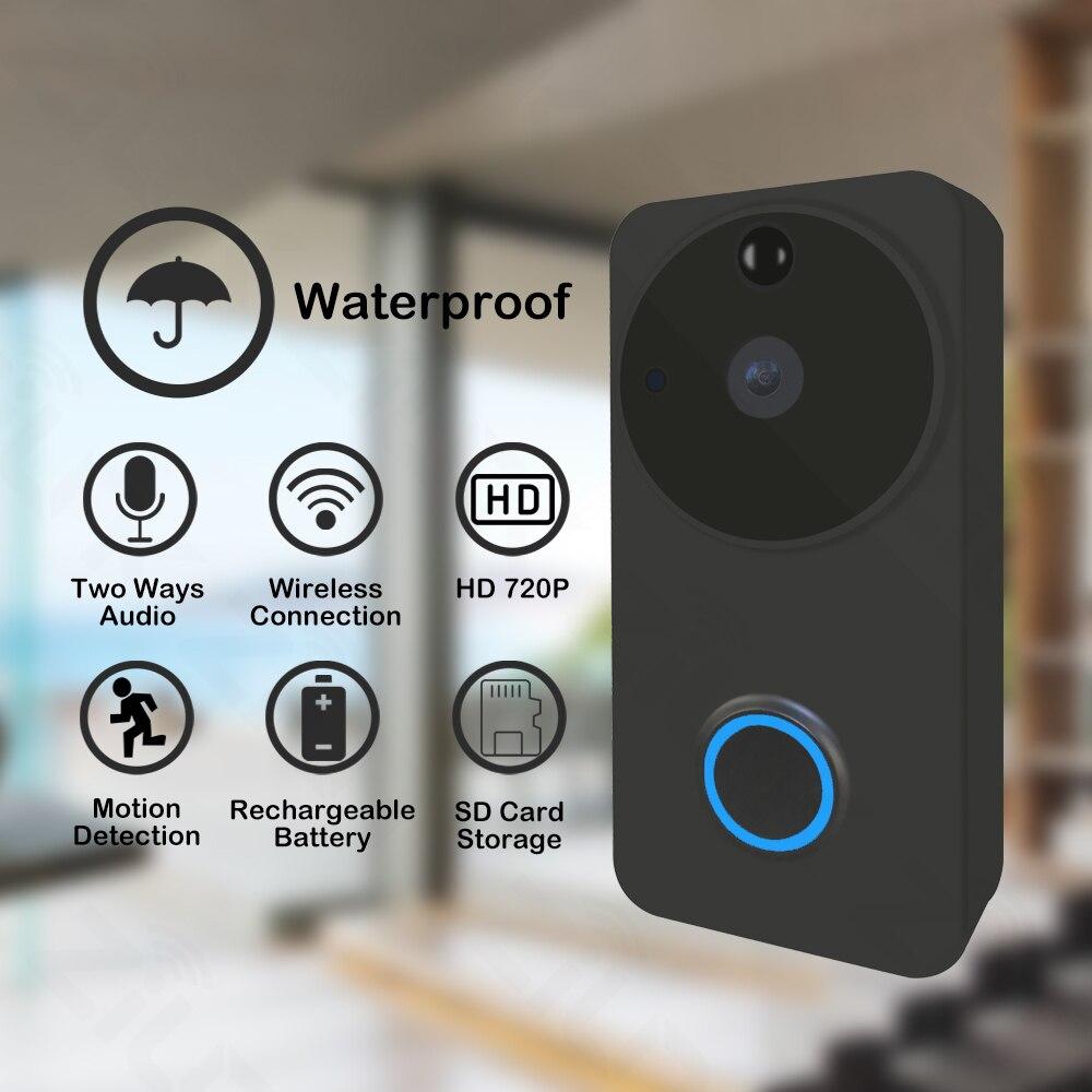720 P 1.0MP Смарт Wi Fi дверные звонки камера батарея ИК PIR сигнализация домофон дверной Звонок IP видео беспроводной охранных SD карты хранения